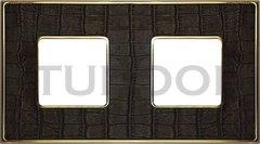 Рамка двойная, для горизонтального/ вертикального монтажа, alicocobrown/блестящее золото