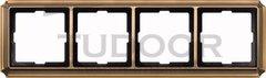 Рамка четверная, для горизонтального/ вертикального монтажа, античная латунь