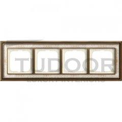 Рамка четверная, для горизонтального/вертикального монтажа, латунь античная/белая роспись