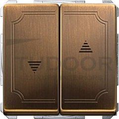 Выключатель управления жалюзи кнопочный, 10 А / 250 В, античная латунь