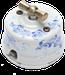 Клавиша Овал наружный монтаж (белый с синим: роспись гжельские узоры)