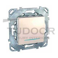 Выключатель одноклавишный с подсветкой, перекрестный (вкл/выкл с 3-х мест) 10 А / 250 В, пластик кремовый глянцевый
