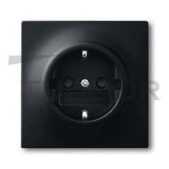 Розетка с заземляющими контактами 16 А / 250 В, с защитой от детей, автоматические зажимы, черный бархат