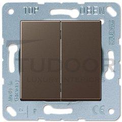 Выключатель двухклавишный, проходной (вкл/выкл с 2-х мест) 10 А / 250 В, мокко