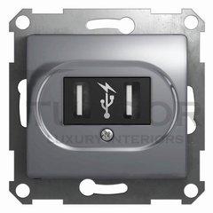 Розетка двойная USB, 2 * 5 B / 700 mA, используется для зарядки мобильных устройств, алюминий