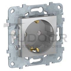 Розетка с заземляющими контактами, автоматические зажимы 16 А / 250 В, алюминий