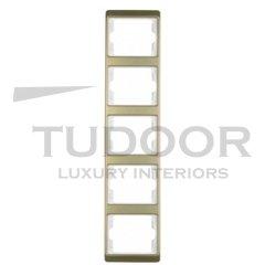 Рамка пятерная, для вертикального монтажа, металл под золото