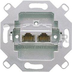 Механизм 2-постовой компьютерной/телефонной розетки UAE, 8/8 полюсов, раздельно, RJ45, категория 5е, неэкранированная, до 100 МГц