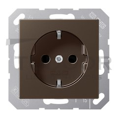Розетка с заземляющими контактами 16 А / 250 В, с защитой от детей, автоматические зажимы, мокко
