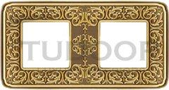 Рамка двойная, для горизонтального/ вертикального монтажа, блестящая патина