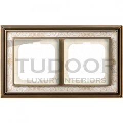 Рамка двойная, для горизонтального/вертикального монтажа, латунь античная/белая роспись