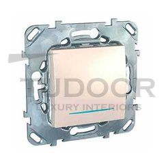 Выключатель одноклавишный с подсветкой, проходной (вкл/выкл с 2-х мест) 10 А / 250 В, пластик кремовый глянцевый