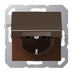 Розетка с заземляющими контактами 16 А / 250 В, с откидной крышкой и защитой от детей, автоматические зажимы, мокко