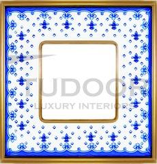 Рамка одинарная, голубая лилия/блестящее золото