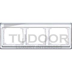 Рамка тройная, для горизонтального монтажа, белое стекло