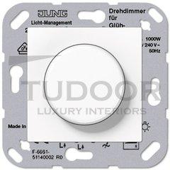 Светорегулятор поворотный 100-1000 Вт. для ламп накаливания и галог.220В, пластик белый глянцевый