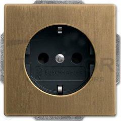 Розетка с заземляющими контактами 16 А / 250 В, с ночной подсветкой и защитой от детей, автоматические зажимы, античная латунь/антрацит