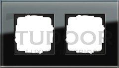 Рамка двойная, для горизонтального/вертикального монтажа, черное стекло