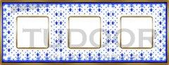Рамка тройная, для горизонтального/ вертикального монтажа, голубая лилия/блестящее золото