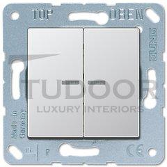 Выключатель двухклавишный с подсветкой, 10 А / 250 В, пластик под алюминий