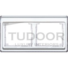Рамка двойная, для горизонтального монтажа, белое стекло