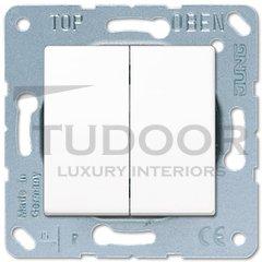 Выключатель двухклавишный, проходной (вкл/выкл с 2-х мест) 10 А / 250 В, пластик белый глянцевый