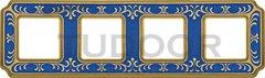 Рамка четверная, для горизонтального/ вертикального монтажа, голубой сапфир