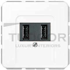 Розетка двойная USB на два выхода , 2х750 мА / 1х1500 мА, белый