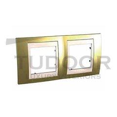 Рамка двойная, для горизонтального монтажа, золото/бежевый