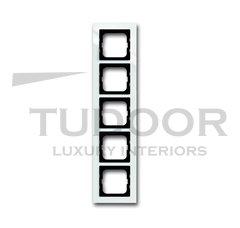 Рамка пятерная, для горизонтального/вертикального монтажа, пластик белый глянцевый