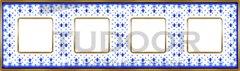 Рамка четверная, для горизонтального/ вертикального монтажа, голубая лилия/блестящее золото