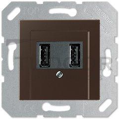 Розетка двойная USB на два выхода , 2х750 мА / 1х1500 мА, мокко