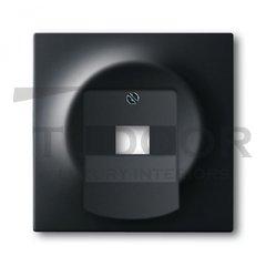 Плата центральная (накладка) для 1-постовой телекоммуникационной розетки 0213, 0216, с полем для надписи, серия impuls, цвет чёрный бархат