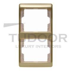 Рамка двойная, для вертикального монтажа, металл под золото
