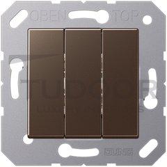 Выключатель, переключатель 3-х клавишний, (вкл/выкл с 1-го и 2-х мест) 10 А / 250 В, мокко