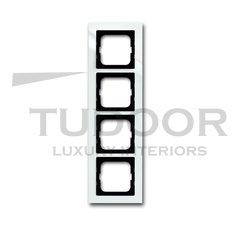 Рамка четверная, для горизонтального/вертикального монтажа, пластик белый глянцевый