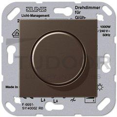 Светорегулятор поворотный 100-1000 Вт. для ламп накаливания и галог.220B, мокко
