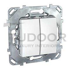 Выключатель двухклавишный, проходной (вкл/выкл с 2-х мест) 10 А / 250 В, пластик белый