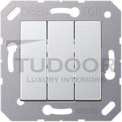 Выключатель, переключатель 3-х клавишний, (вкл/выкл с 1-го и 2-х мест) 10 А / 250 В, пластик под алюминий