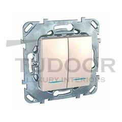 Выключатель двухклавишный с подсветкой, 10 А / 250 В, пластик кремовый глянцевый