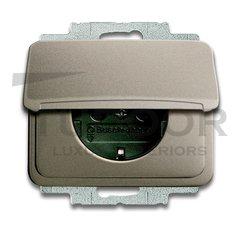 Розетка с заземляющими контактами 16 А / 250 В, с крышкой и защитой от детей, автоматические зажимы, палладий