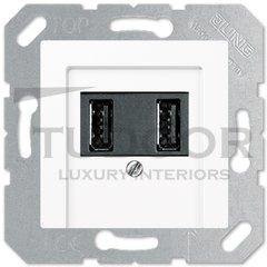 Розетка двойная USB на два выхода, 2х750 мА / 1х1500 мА, пластик белый глянцевый