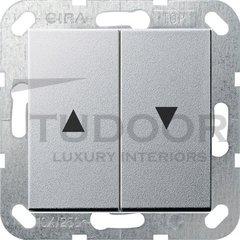 Выключатель управления жалюзи кнопочный, 10 А / 250 В, пластик под алюминий