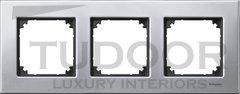 Рамка тройная, для горизонтального/ вертикального монтажа, металл платина-серебро