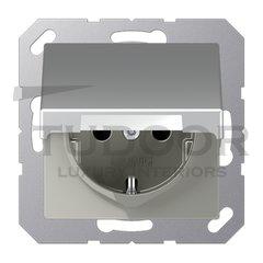 Розетка с заземляющими контактами 16 А / 250 В, с откидной крышкой и защитой от детей, автоматические зажимы, пластик под алюминий