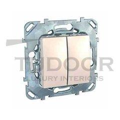 Выключатель двухклавишный, 10 А / 250 В, пластик кремовый глянцевый