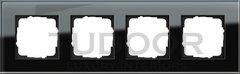 Рамка четверная, для горизонтального/вертикального монтажа, черное стекло