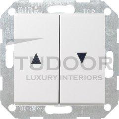 Выключатель управления жалюзи клавишный, 10 А / 250 В, пластик белый глянцевый