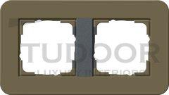 Рамка двойная для горизонтального/вертикального монтажа, с покрытием Soft Touch, дымчатый/антрацит