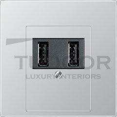 Розетка двойная USB на два выхода , 2х750 мА / 1х1500 мА, алюминий